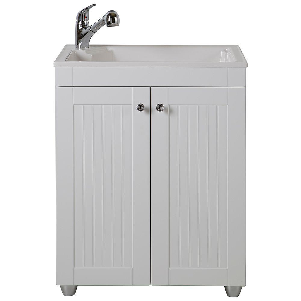 St. Paul Ensemble tout-en-un évier de buanderie de 68,58cm l x 86,36cm  H x 55,88cm  P en matériau composite avec robinet et armoire de rangement