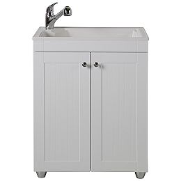 All-in-One 27 inch W x 34 inch H x 22 inch D Composite Laundry Sink with Faucet and Storage Cabinet