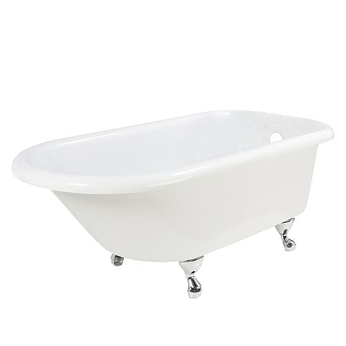 Chedworth 5 Feet Twin Skin Bathtub with Chrome Claw Feet
