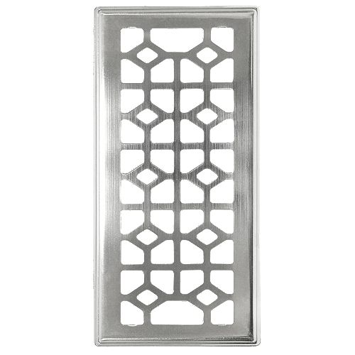 Abstract 4x10 brushed nickel Floor Registers with beveled edge (3-Pack)