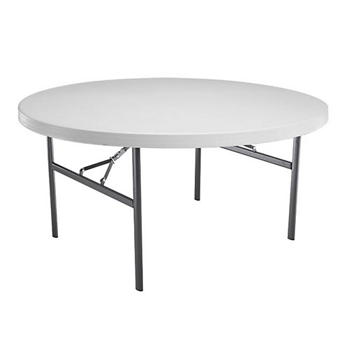 Round Commercial Folding Table, 60 Inch, White Granite - (12-Pack)