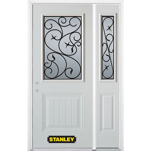 52.75 inch x 82.375 inch Borduas 1/2 Lite 1-Panel Prefinished White Right-Hand Inswing Steel Prehung Front Door with Sidelite and Brickmould