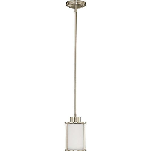 Odeon 1-Light Mini Pendant with Satin White Glass Finished in Brushed Nickel
