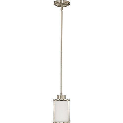 Lustre Glomar à une ampoule avec abat-jour blanc, finition de spécialité