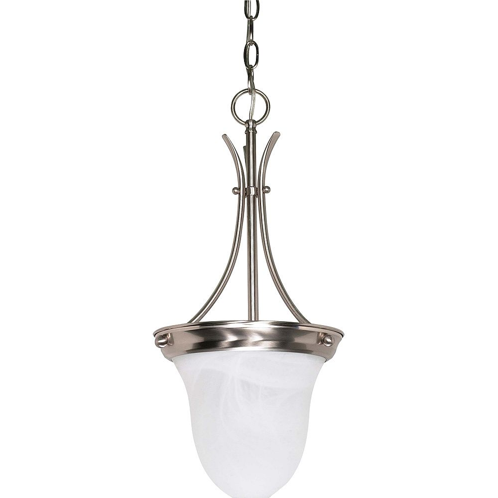 Glomar Lustre à une ampoule avec abat-jour de spécialité, finition de spécialité