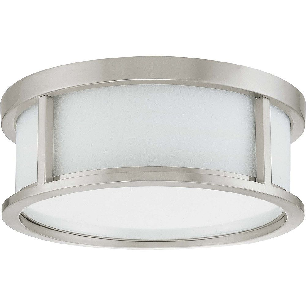 Glomar Odeon 2 Light 13 Inch Flush Dome With Satin White Glass Finished In Brushed Nickel The Home Depot Canada