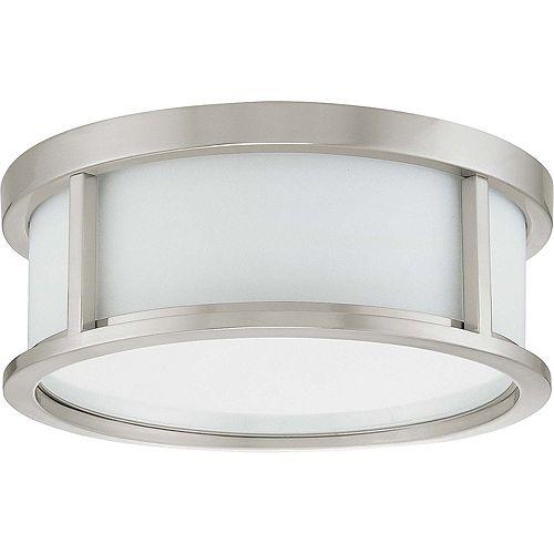 Plafonnier à deux ampoules avec abat-jour blanc, finition de spécialité