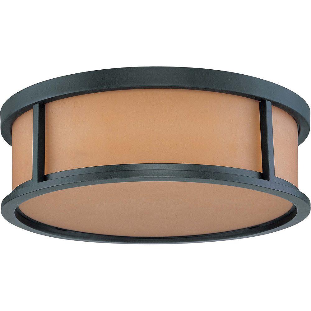 Glomar Odeon 3 lumière Flush dôme avec verre de parchemin fini en Bronze âgé de 15 pouces