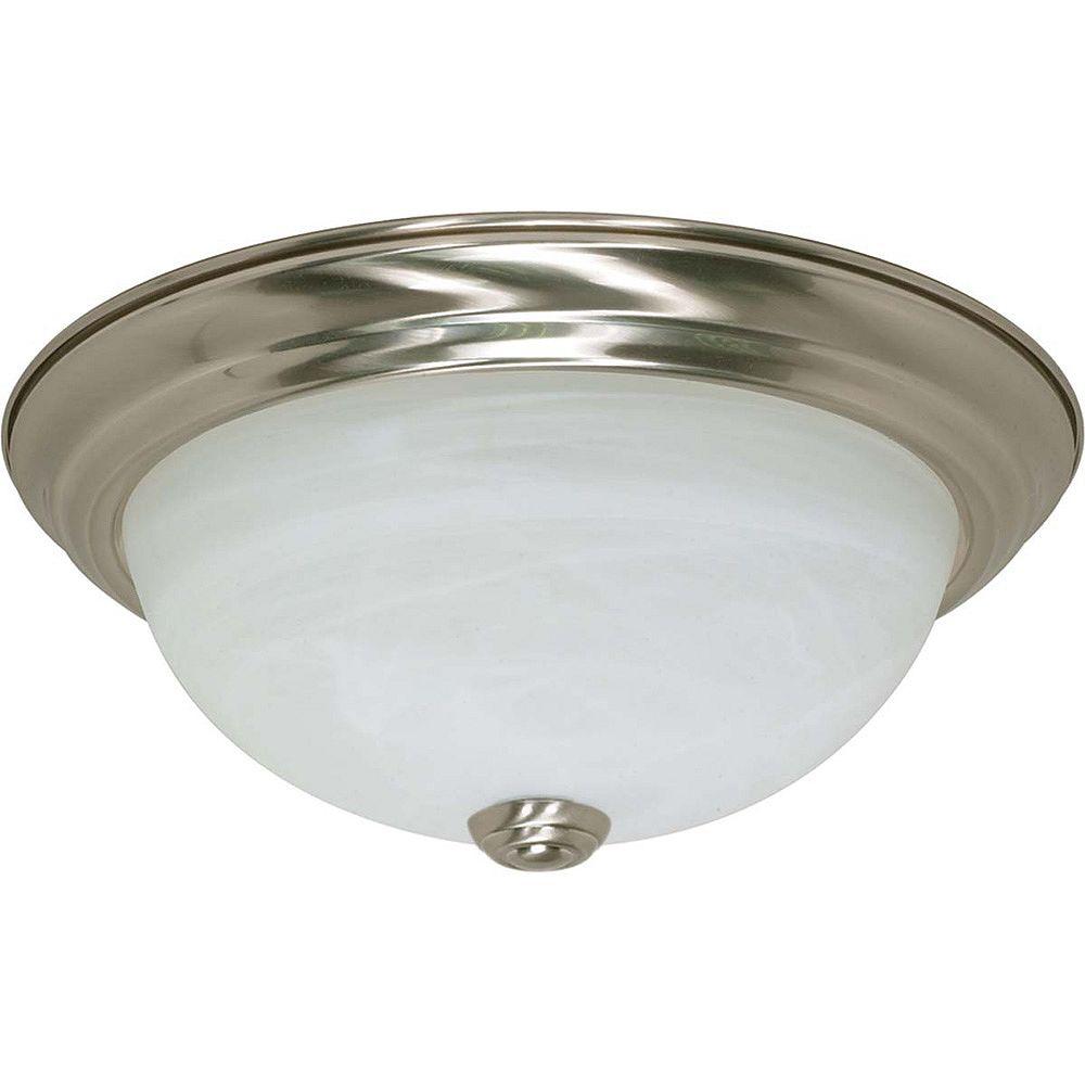 Glomar Plafonnier Glomar à deux ampoules avec abat-jour givré, finition de spécialité