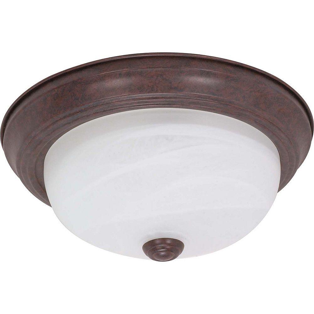 Glomar Plafonnier Glomar à deux ampoules avec abat-jour de spécialité, Fini bronze