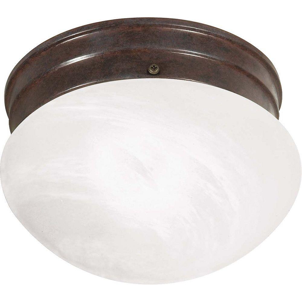 Glomar Plafonnier à une ampoule avec abat-jour de spécialité, Fini bronze