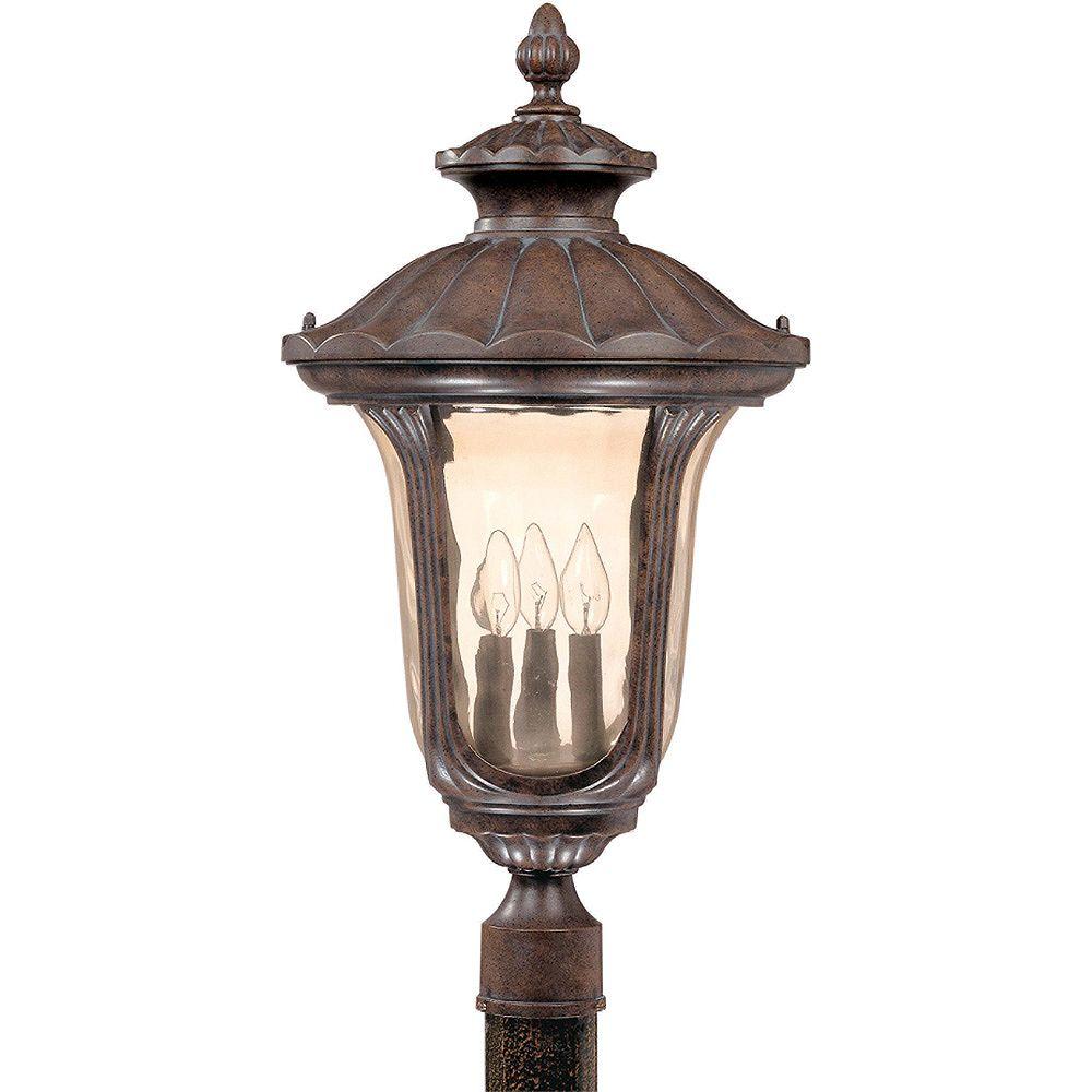 Glomar Pilier monture lumière Glomar à trois ampoules avec abat-jour de spécialité, finition de spécialité