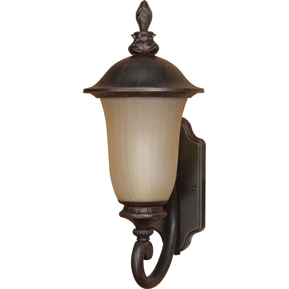Glomar Lumière Glomar fixée au mur à une ampoule avec abat-jour de spécialité, Fini bronze