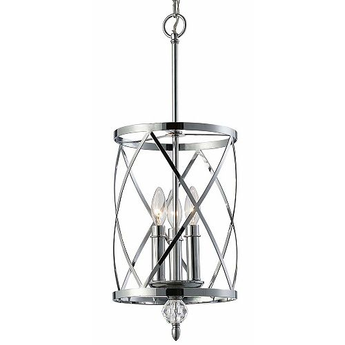 Canarm Vanessa 3-Light Chrome Chandelier with Crystal Accents