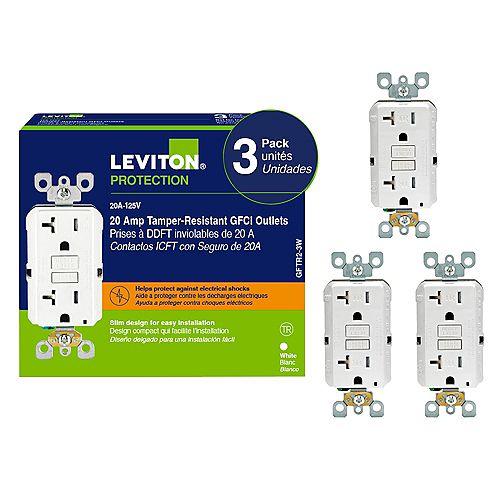 Leviton Decora 20 Amp Tamper-Resistant Slim GFCI Receptacle/ (3-Pack)