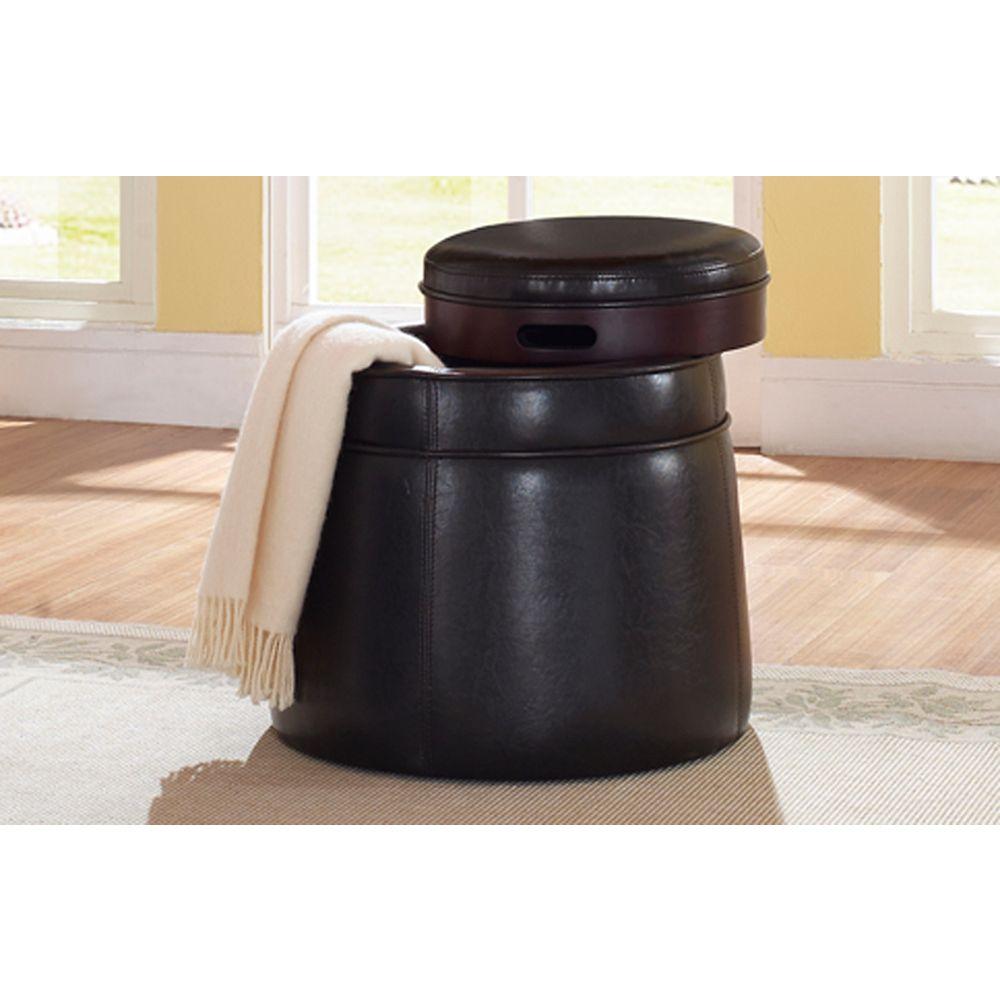 Worldwide Homefurnishings Inc. Anton ottomane polyvalent avec plateau - brun