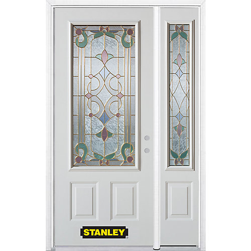 52.75 inch x 82.375 inch Aristocrat Brass 3/4 Lite 2-Panel Prefinished White Left-Hand Inswing Steel Prehung Front Door with Sidelite and Brickmould - ENERGY STAR®