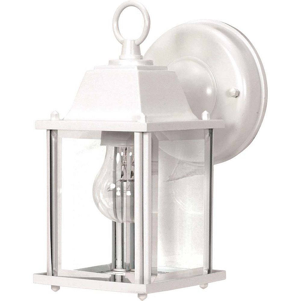 Glomar 1 Light 9 Inch Wall Lantern Cube Lantern With Clear Beveled Glass Finished In White The Home Depot Canada