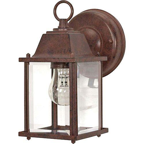 Glomar Lumière Glomar fixée au mur à une ampoule avec abat-jour clair, Fini bronze