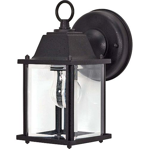 1-Light 9-inch Wall Lantern Cube Lantern in Textured Black with Clear Beveled Glass
