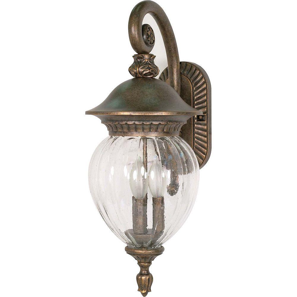 Glomar Balun 3 lumière 22 pouces mur lanterne bras Down avec verre transparent de semences Melon terminé en or platine