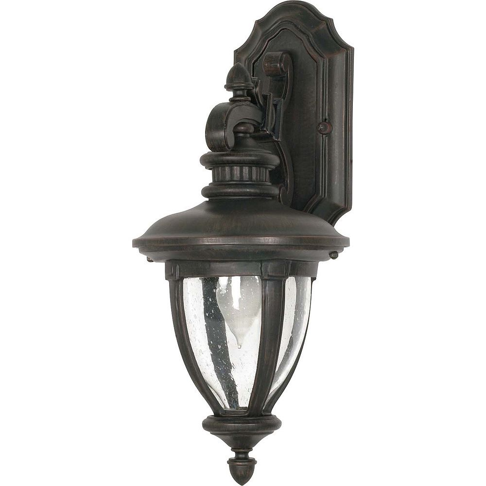 Glomar Galeon 1 lumière 19 pouces mur lanterne bras Down avec verre transparent de semences termine en Bronze de Penny Old