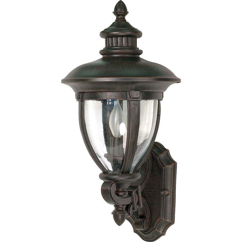 Glomar Galeon 3 lumière 23 pouces mur lanterne bras Up avec verre transparent de semences termine en Bronze de Penny Old