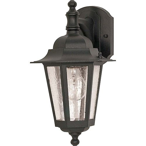 Cornerstone 1-Light 13 Inch Wall Lantern - Arm Downwith Clear Seed Glass finished in Textured Black