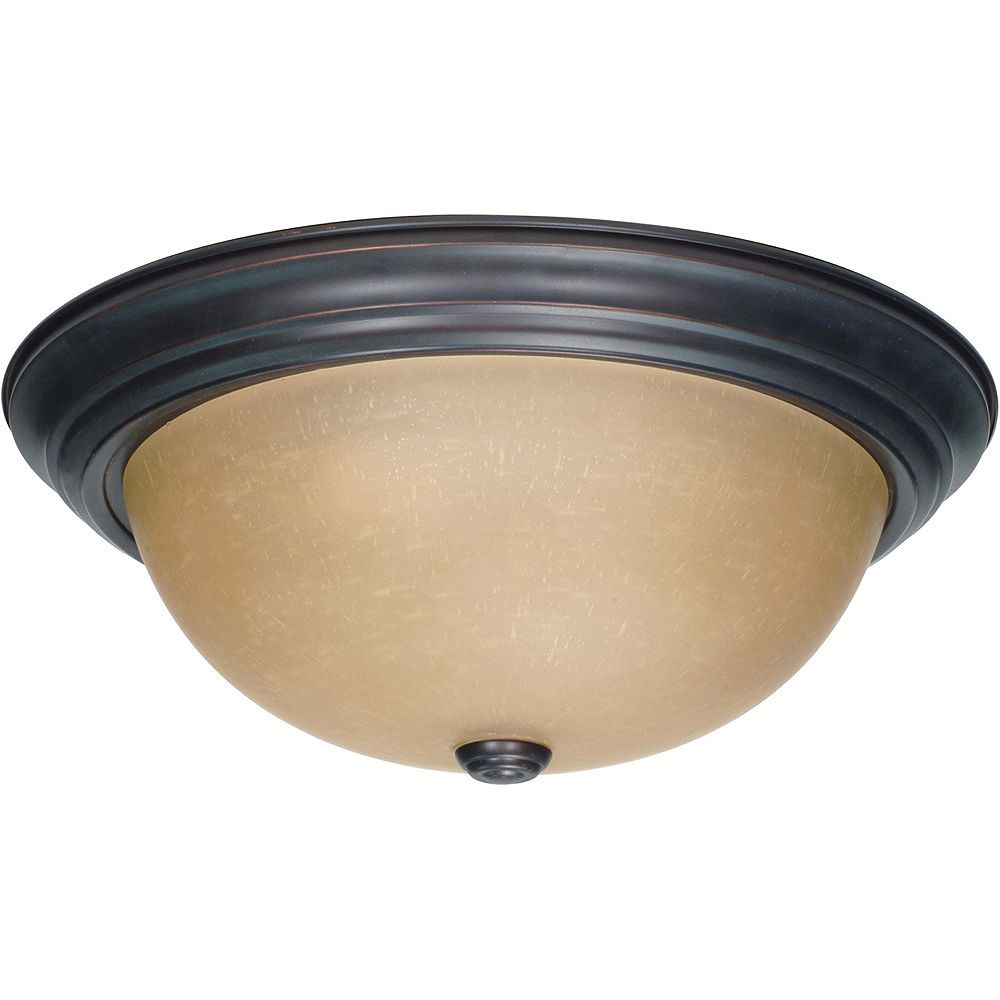 Glomar Plafonnier à trois ampoules avec abat-jour de spécialité, Fini bronze