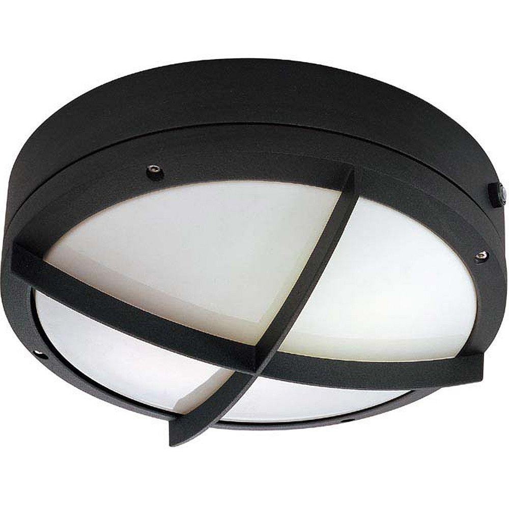 Glomar Lumière Glomar fixée au mur à deux ampoules avec abat-jour blanc, Fini noir