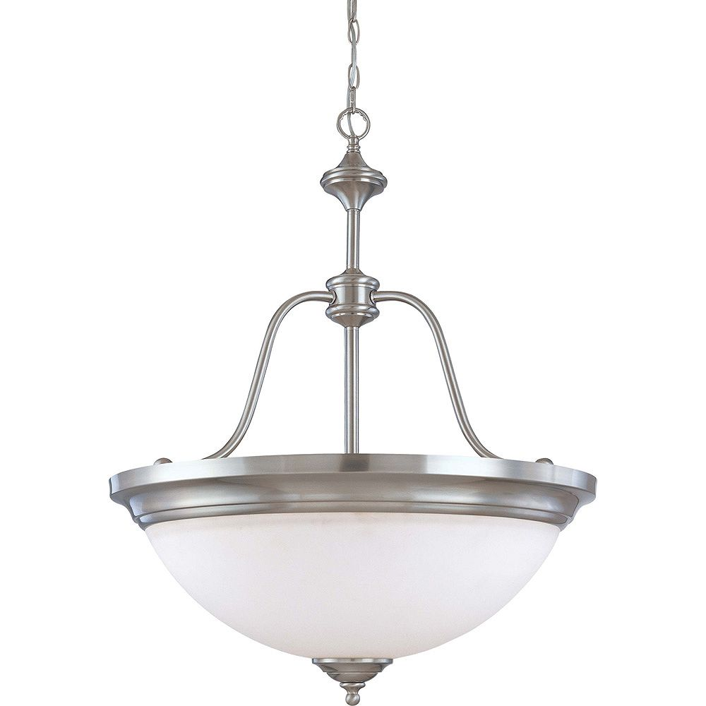 Glomar Glenwood brossé Nickel lumière 4 grande pendentif avec verre blanc satiné (ampoules)