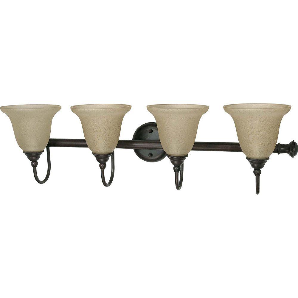 Glomar Mericana vieux Bronze 4 lumière Vanity avec Amber eau verre (ampoules de lampes fluorescentes compactes inclus)