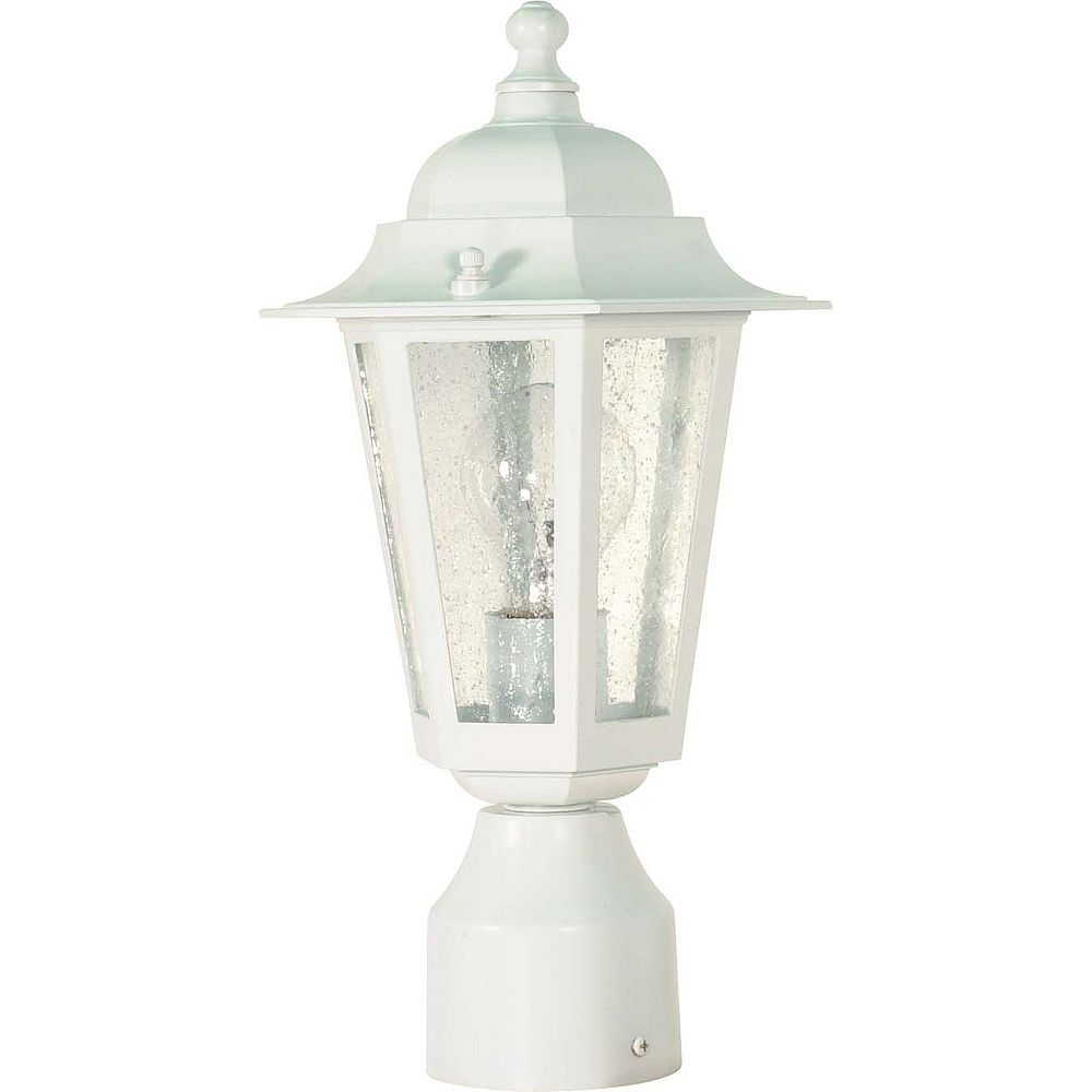 Glomar Pilier monture lumière à une ampoule avec abat-jour clair, Fini blanc