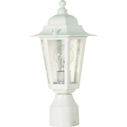 Cornerstone 1 -Light 14 Inch Post Lantern with Clear Seed Glass Finished in White