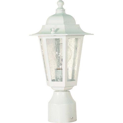 Pilier monture lumière à une ampoule avec abat-jour clair, Fini blanc