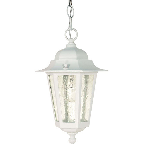 Piper 13-inch Hanging Lantern with Clear Seed Glass in White