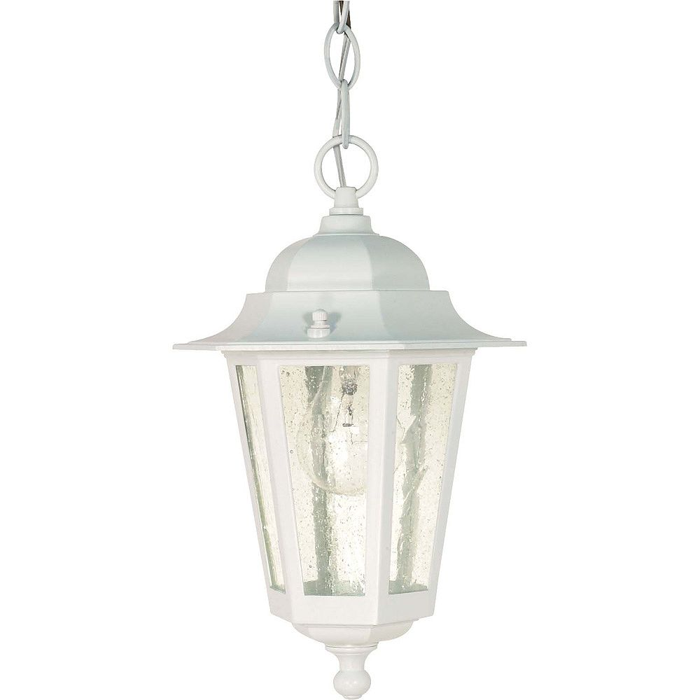 Glomar Piper 13-inch Hanging Lantern with Clear Seed Glass in White