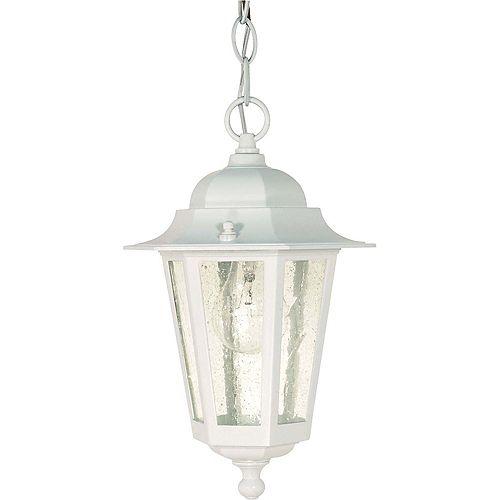 Glomar Lanterne blanche suspendue Piper, verre granuleux transparent, 33,02cm (13po)
