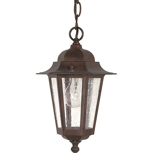 Glomar Lustre à une ampoule avec abat-jour clair, Fini bronze