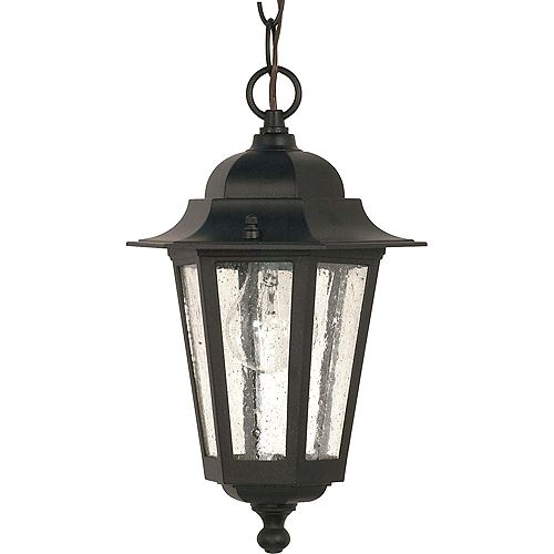 Cornerstone 1 Light 13 Inch Hanging Lantern with Clear Seed Glass Finished in Textured Black