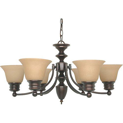 Lustre à six ampoules avec abat-jour de spécialité, Fini bronze