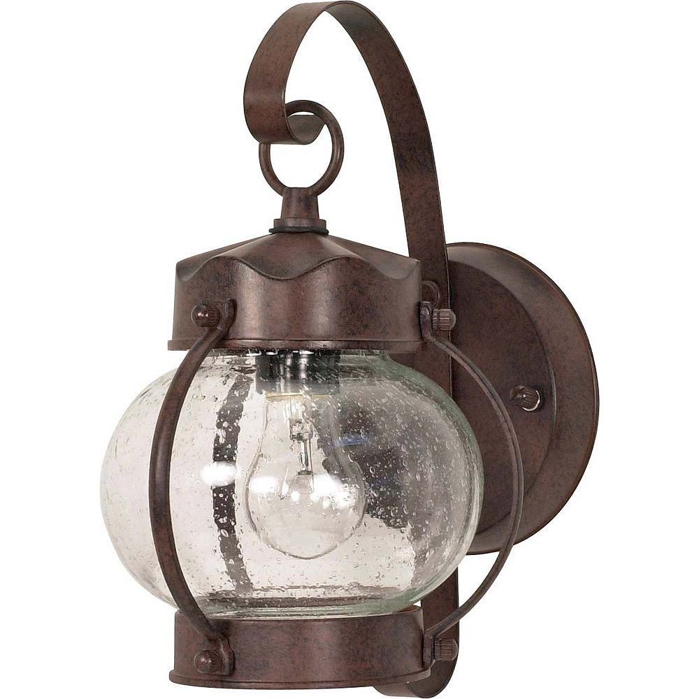 Glomar 1-Light 11 Inch Wall Lantern Onion Lantern with Clear Seed Glass finished in Old Bronze