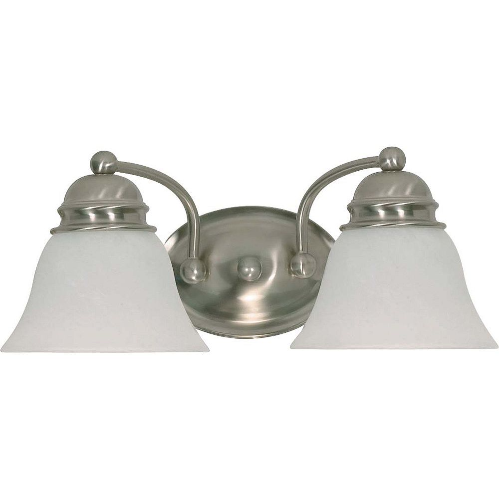 Glomar Lumière Glomar fixée au mur à deux ampoules avec abat-jour givré, finition de spécialité