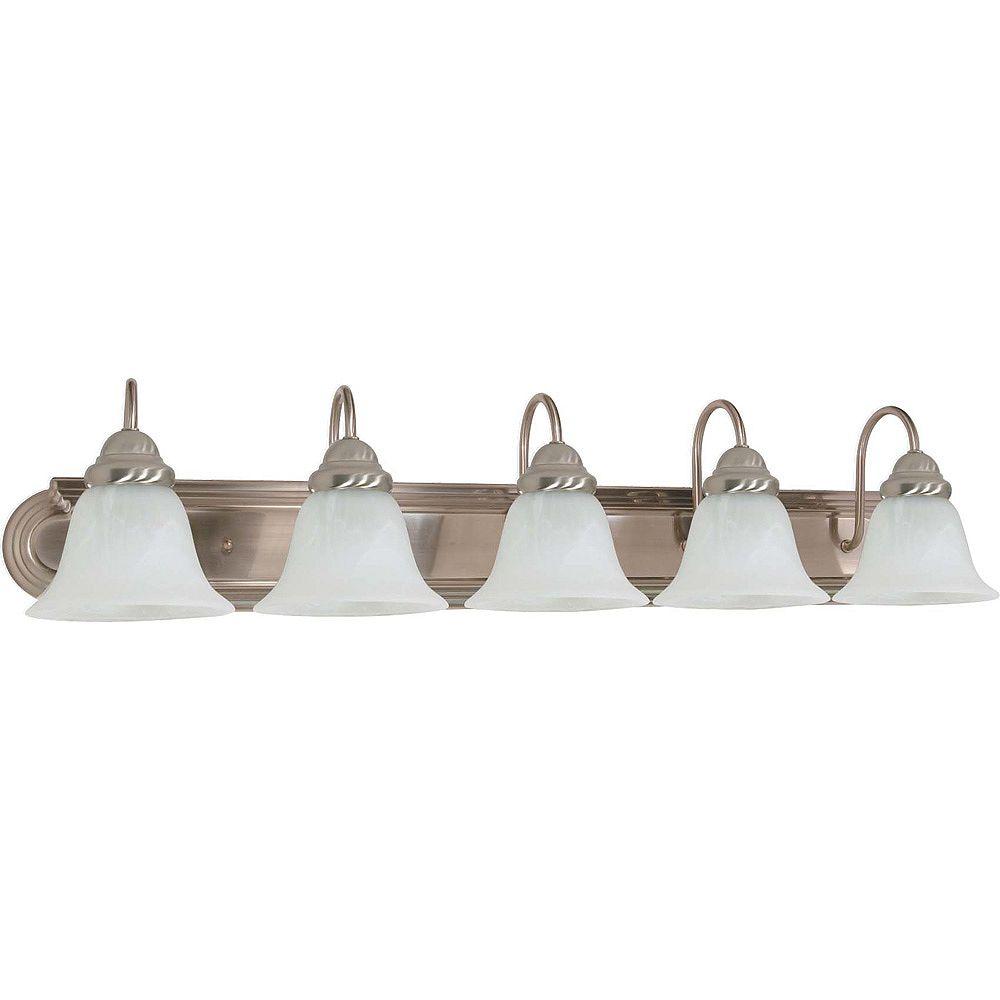 Glomar Lumière fixée au mur à cinq ampoules avec abat-jour de spécialité, finition de spécialité