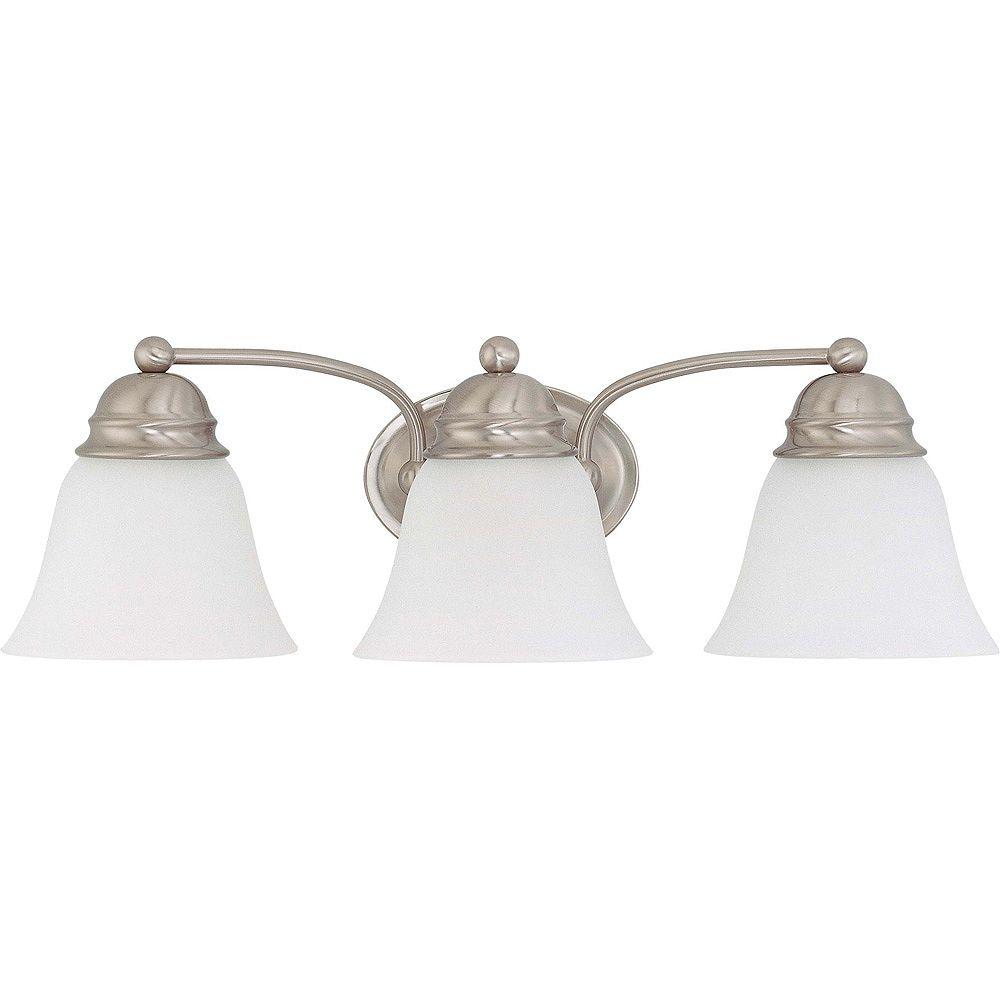 Glomar Lumière fixée au mur à trois ampoules avec abat-jour givré, finition de spécialité