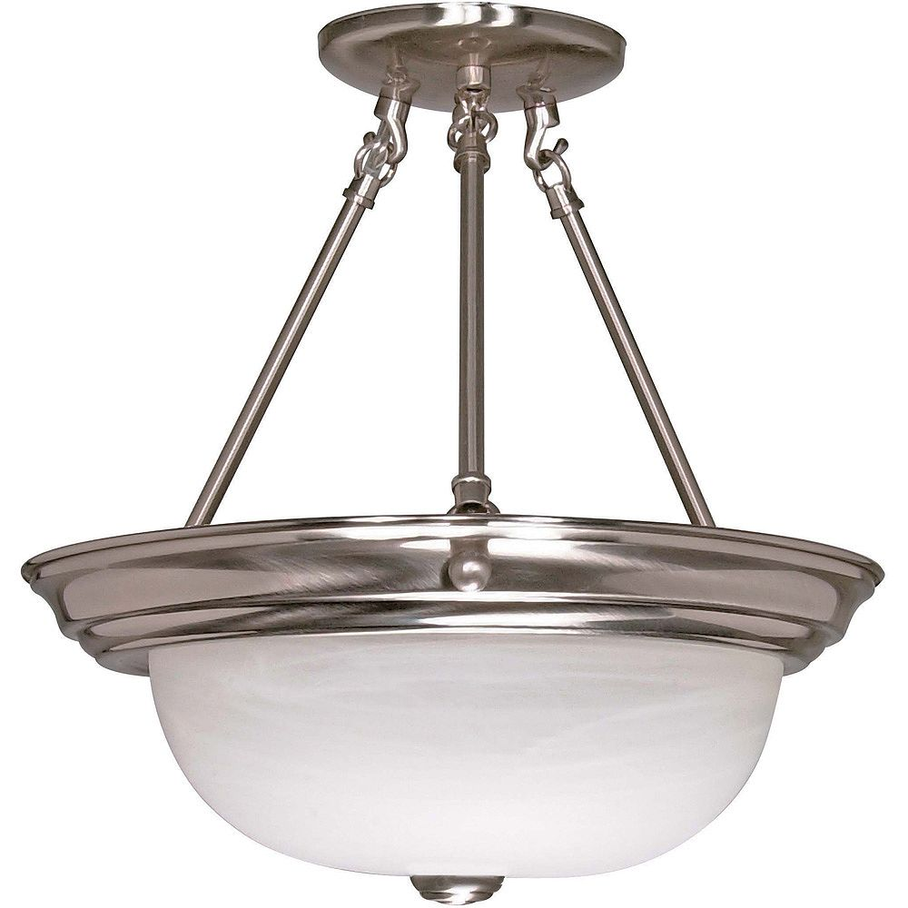 Glomar Plafonnier Glomar à trois ampoules avec abat-jour de spécialité, finition de spécialité