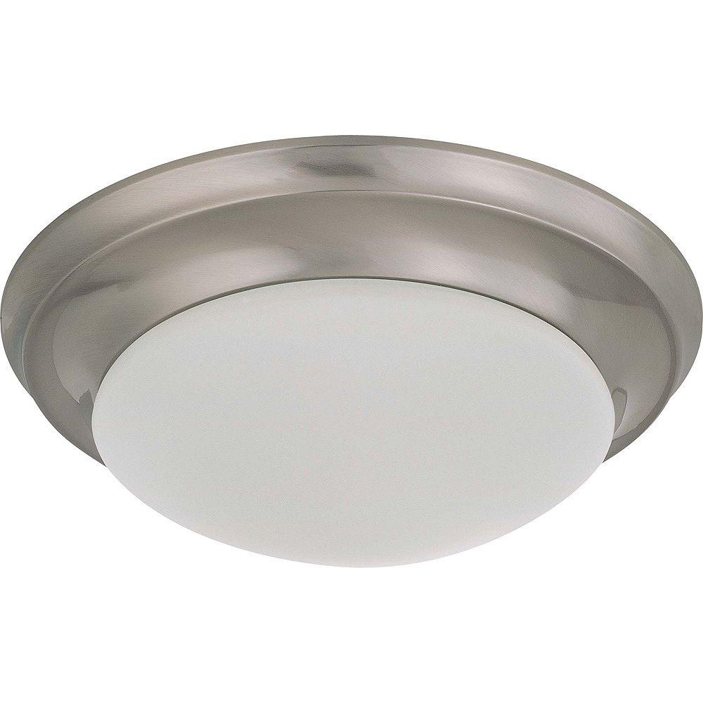 Glomar Plafonnier à une ampoule avec abat-jour givré, finition de spécialité