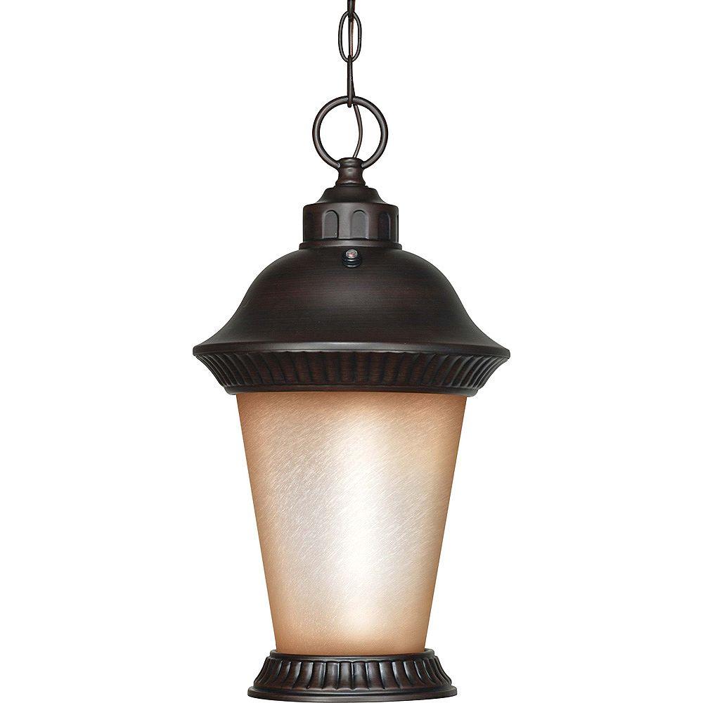 Glomar Lumière de Bronze 1 Chestnut Clarion pendaison lanterne avec verre de blé brossé (ampoule)