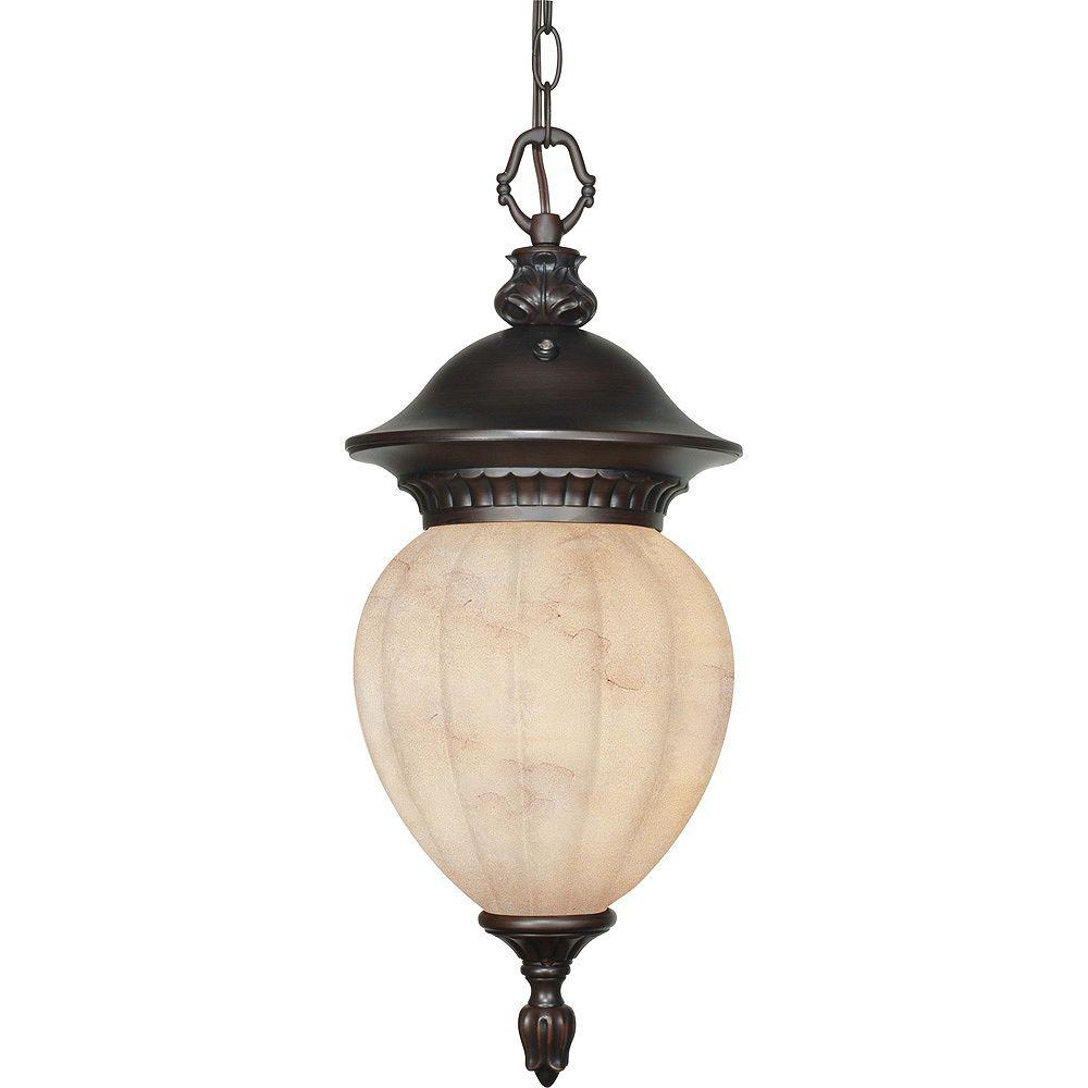 Glomar Balun Chestnut Bronze 1 lumière pendaison lanterne avec verre de marbre de miel (ampoule)