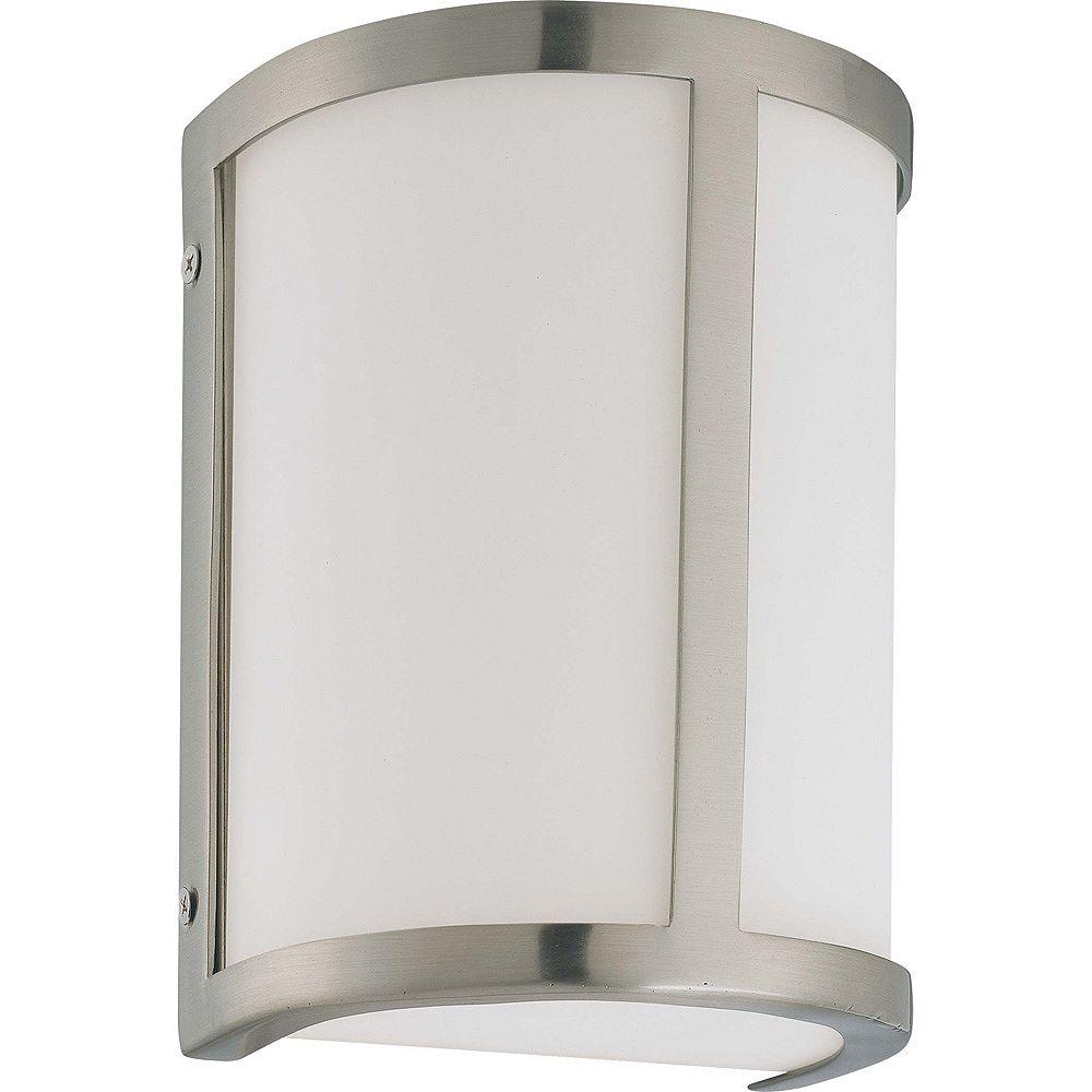 Glomar Lumière Glomar fixée au mur à une ampoule avec abat-jour blanc, Fini blanc